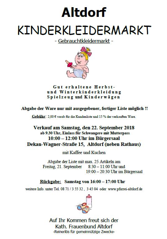 Kinderkleidermarkt September 2018