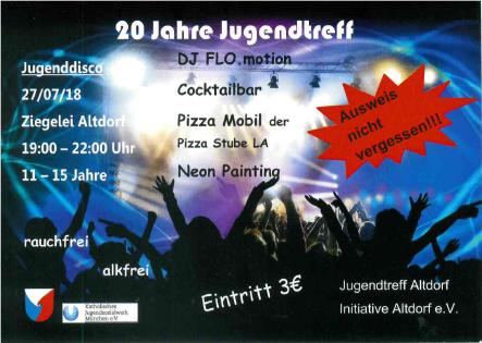 Flyer 20 Jahre Jugendtreff Seite 1